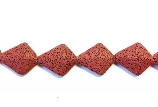 Lava Rock Beads Kite Red 28x33mm