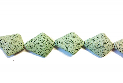 Lava Rock Beads Kite Light Green 28x33mm