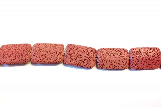 Lava Rock Beads Rectangle Red 19x28mm