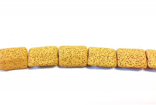 Lava Rock Beads Rectangle Ochre Yellow 19x28mm