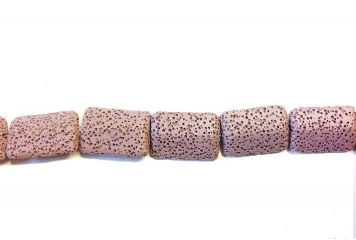 Lava Rock Beads Rectangle Purple 19x28mm