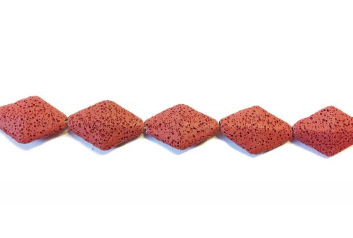 Lava Rock Beads Rhombus Red 23x35mm