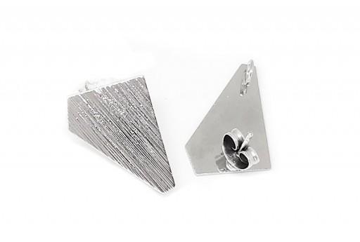 Orecchino Perno Minimal Jewelry Poligono - Platino 18x13mm