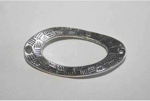 Connettori Argento Tibetano Ovale Twist 36x18mm - 4pz