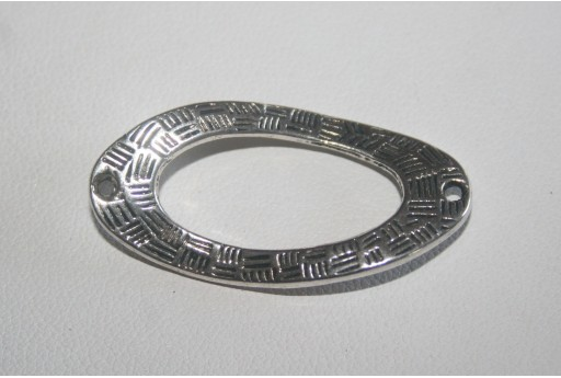 Tibetan Silver Twisted Oval Connectors 36x18mm - 4pcs