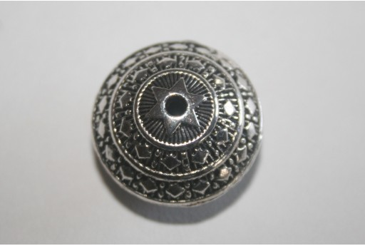 Tibetan Silver Large Flat Round Beads 23x16mm - 2pcs