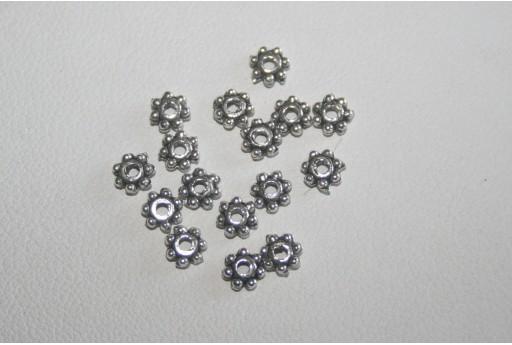 100 Rondelle Argento Tibetano 4mm TI86