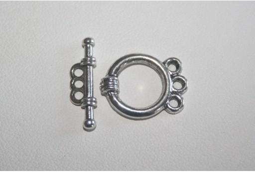 Chiusure T Bar Tonda 3 Fori Argento Tibetano 18x14mm - 4pz