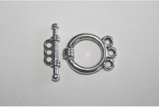 Chiusura T Bar Tonda 3 Fori Argento Tibetano 18x14mm TI88