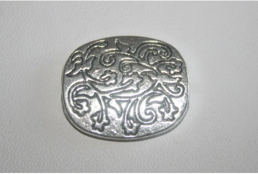 Tibetan Silver Flat Oval Pattern Beads 26x22mm - 2pcs