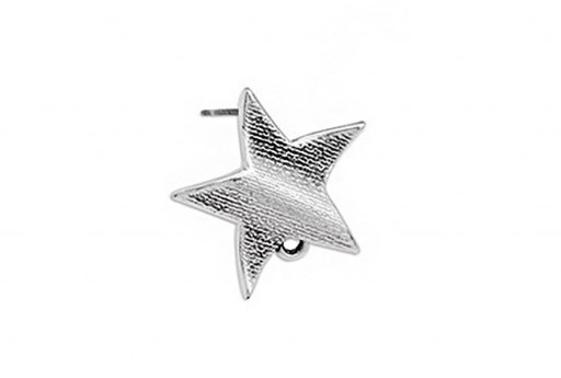 Wavy Star Earring With Titanium Pin - Silver