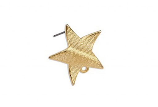 Wavy Star Earring With Titanium Pin - Gold