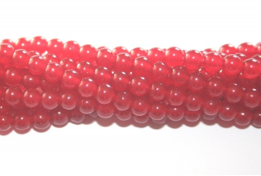 Giada Colorata Rossa - Tondo 4mm