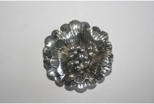 Tibetan Silver Flower Pendant 35mm