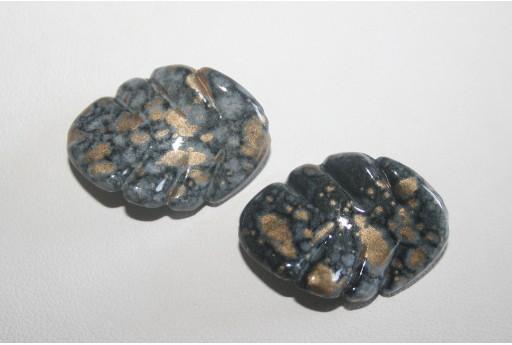10 Perline Acrilico Nero Oro Foglia
