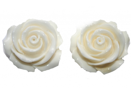 Perline Resina Avorio - Rosellina 15mm