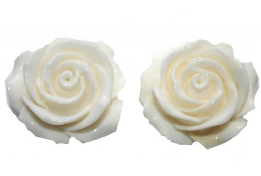 Perline Resina Avorio - Rosellina 12mm