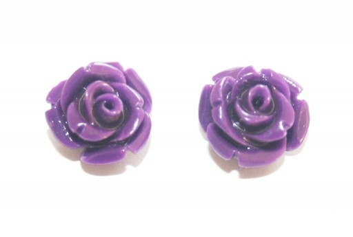 Perline Resina Viola - Rosellina 10mm - 2pz