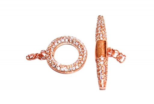 Cubic Zirconia Micro Pave Brass Clasps T-Bar - Rose Gold 14X26mm