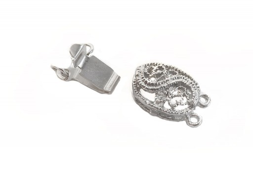 Oval Box Clasp 2 Strand - Platinum 16x9mm