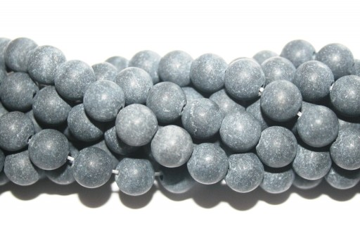 Black Stone Matte Finish - Rounds 8mm - 48pcs
