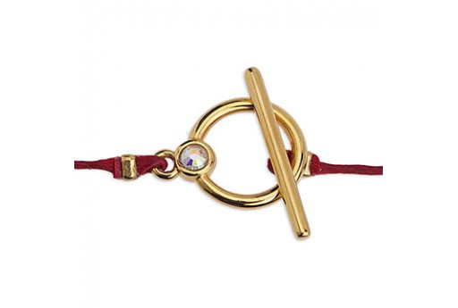 Zamak Toogle Clasp With Strass - Gold 14mm - 2pcs