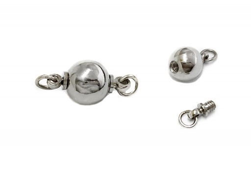 Platinum Screw Clasp - Round 8mm