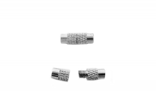 Cylinder Screw Clasp - Silver 12x4mm - 2pcs