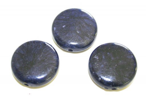 Acrylic Beads Blue - Coin 27x9mm - 8pcs