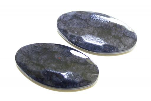 Perline in Acrilico Blu Sfumato - Ovale Sfaccettato 45x24mm - 6pz