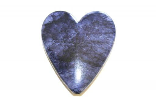 Acrylic Beads Blue - Heart 45x39mm - 2pcs