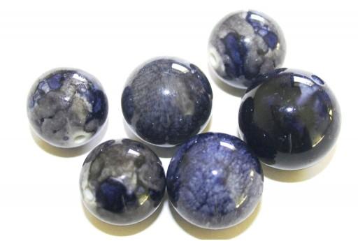 Perline in Acrilico Blu Sfumato - Tondo Misure Miste - 10pz