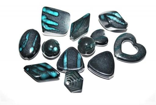 Blue Turquoise Mix Shape Acrylic Beads - 14pcs