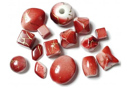 Perline Acrilico Rosso/Oro Mix Forme - 14pz