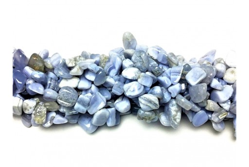 Gemstones Beads Blue Chalcedony - Chips 6X9mm - 48pcs