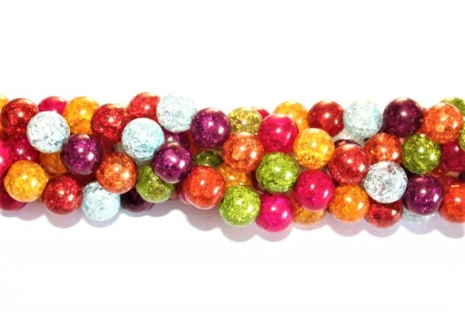 Multicolor Cracked Glass Crystal - Round 10mm - 38pcs
