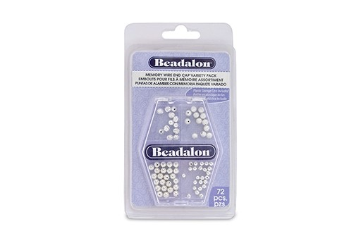 Beadalon Memory Wire End Cap Variety Pack Silver - 72pcs