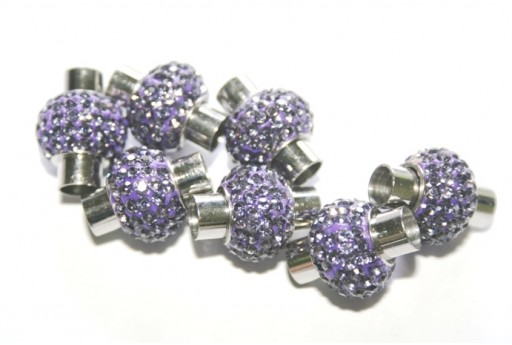 Steel Magnetic Clasp with Purple Strass 17x14mm