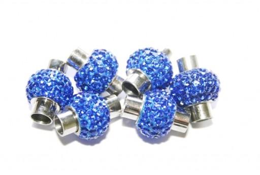 Chiusura Magnetica Acciaio e Strass Blue 17x14mm