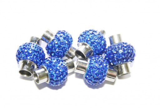 Steel Magnetic Clasp with Blue Strass 17x14mm