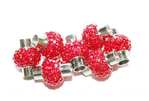 Steel Magnetic Clasp with Red Strass 17x14mm