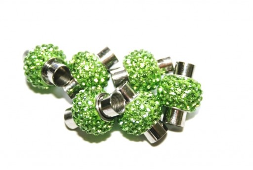 Steel Magnetic Clasp with Green Strass 17x14mm