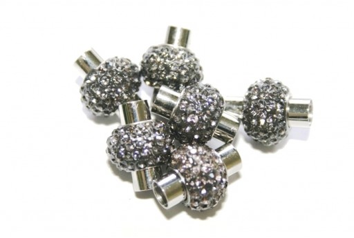 Steel Magnetic Clasp with Grey Strass 17x14mm