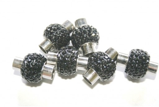 Steel Magnetic Clasp with Black Strass 17x14mm