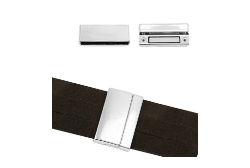 Silver Flat Magnetic Clasp 34x17mm