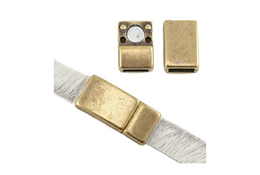 Magnetic Clasp - Bronze 16x8mm - Hole 5x2mm