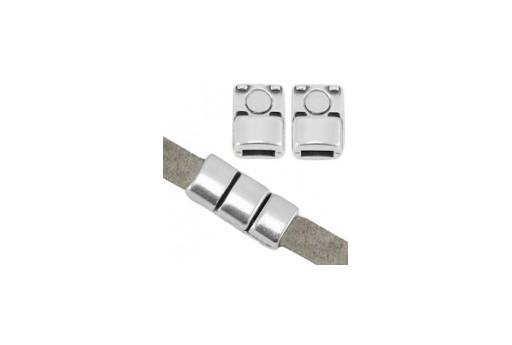 Chiusura Magnetica per Corda Piatta - Argento 18x8mm