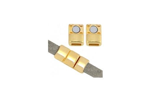 Chiusura Magnetica per Corda Piatta - Oro 18x8mm