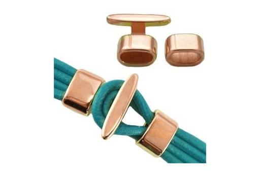 Chiusura a Gancio con Cursore - Oro Rosa 20x23mm - Foro 10x5mm