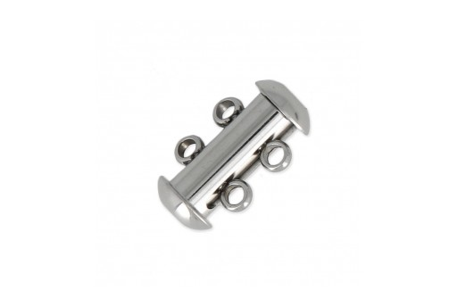 Stainless Steel Slide Lock Clasps 2 Strands 15X10mm